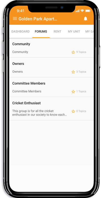 ApnaComplex Android App Forums Screen