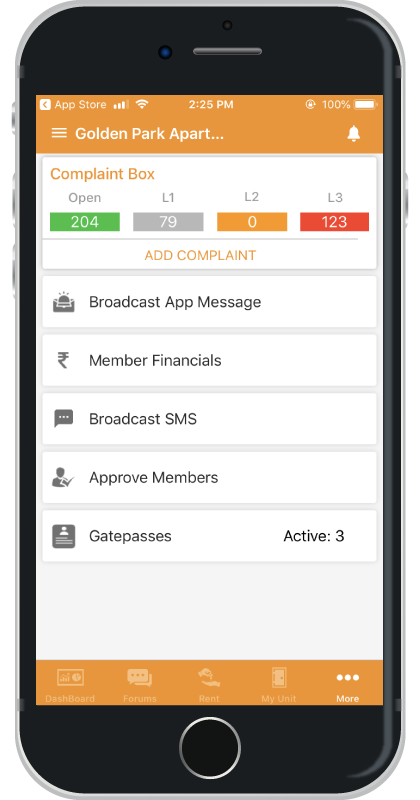 ApnaComplex iOS App Community Screen